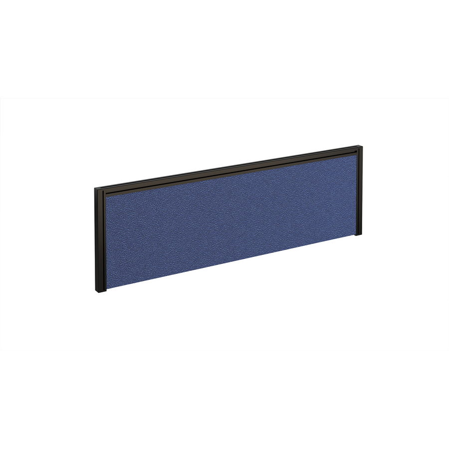Picture of Straight fabric desktop screen 1200mm x 380mm - blue fabric with black aluminium frame
