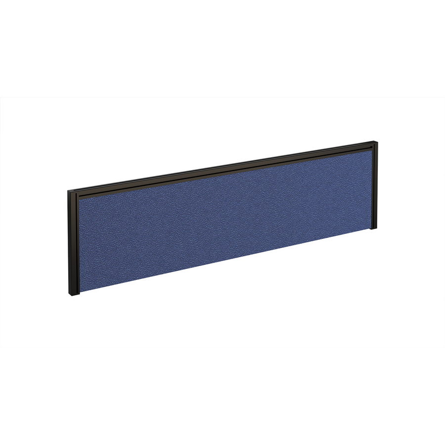 Picture of Straight fabric desktop screen 1400mm x 380mm - blue fabric with black aluminium frame