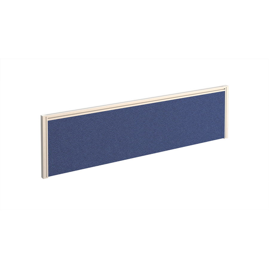 Picture of Straight fabric desktop screen 1400mm x 380mm - blue fabric with white aluminium frame