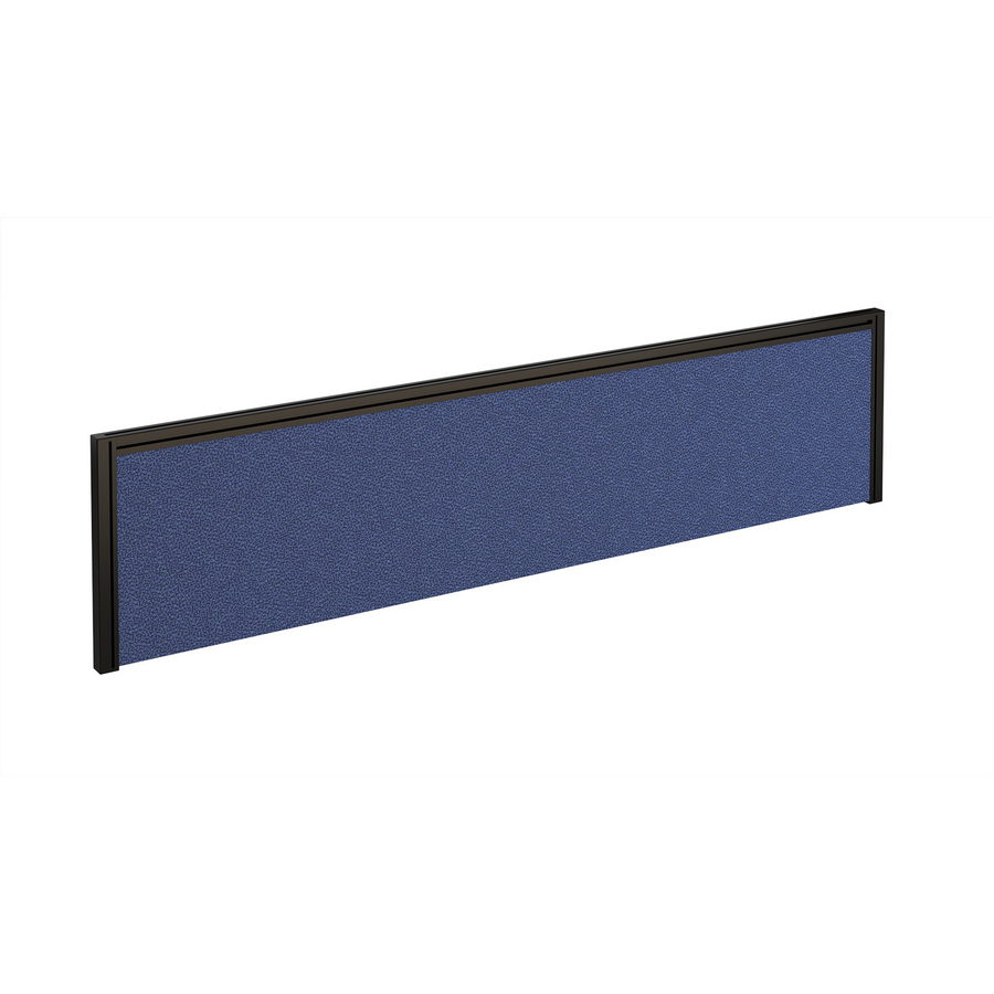 Picture of Straight fabric desktop screen 1600mm x 380mm - blue fabric with black aluminium frame