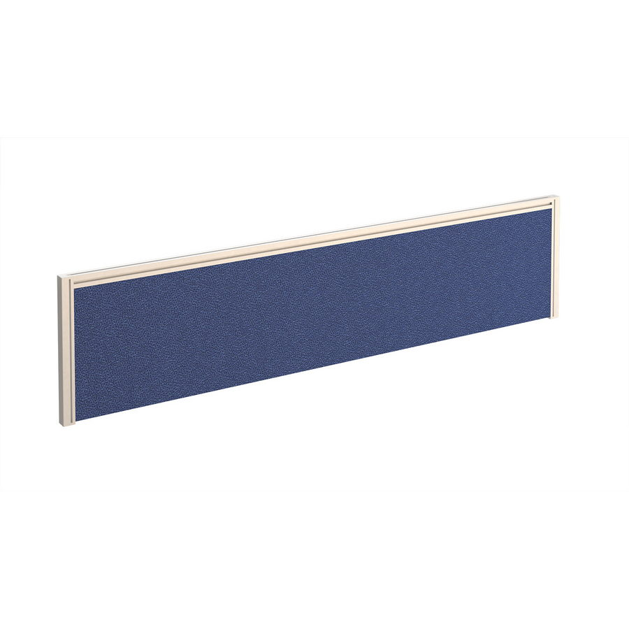 Picture of Straight fabric desktop screen 1600mm x 380mm - blue fabric with white aluminium frame