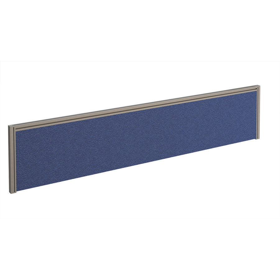 Picture of Straight fabric desktop screen 1800mm x 380mm - blue fabric with silver aluminium frame
