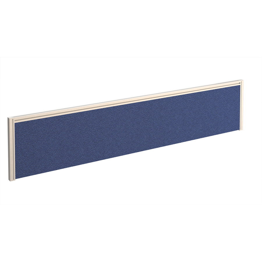 Picture of Straight fabric desktop screen 1800mm x 380mm - blue fabric with white aluminium frame
