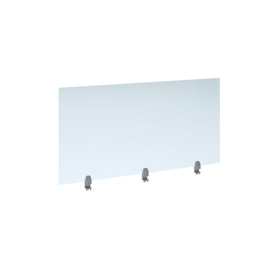 Picture of Straight high desktop acrylic screen with silver brackets 1400mm x 700mm