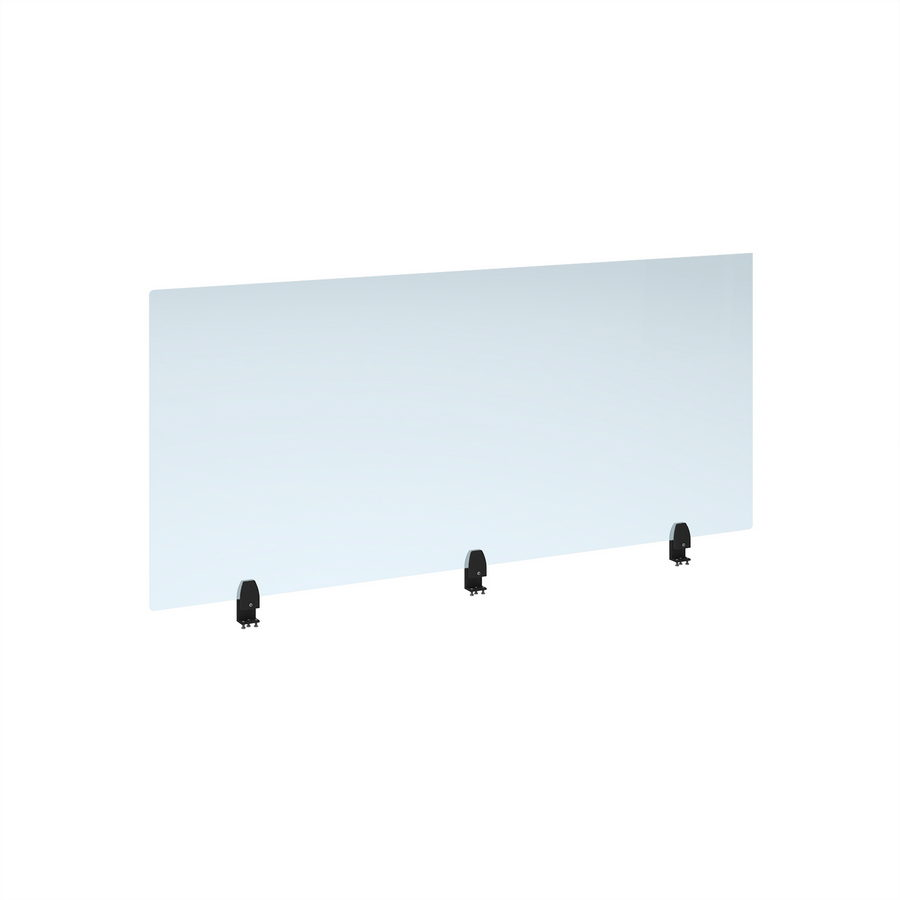Picture of Straight high desktop acrylic screen with black brackets 1600mm x 700mm