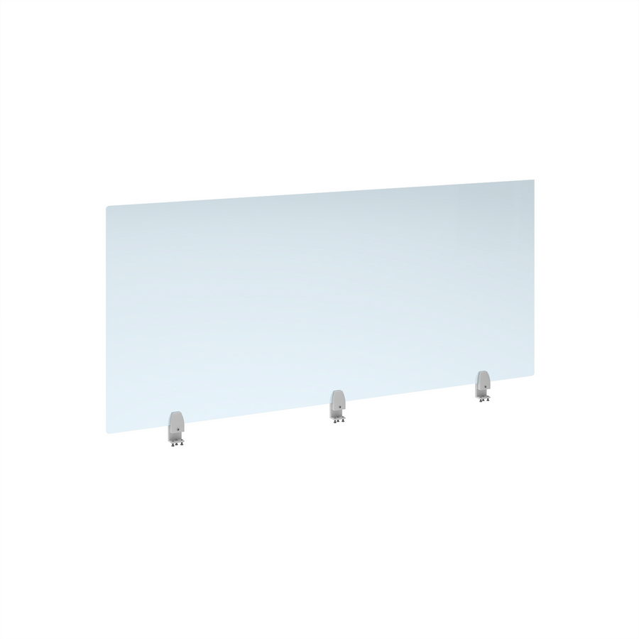 Picture of Straight high desktop acrylic screen with white brackets 1600mm x 700mm