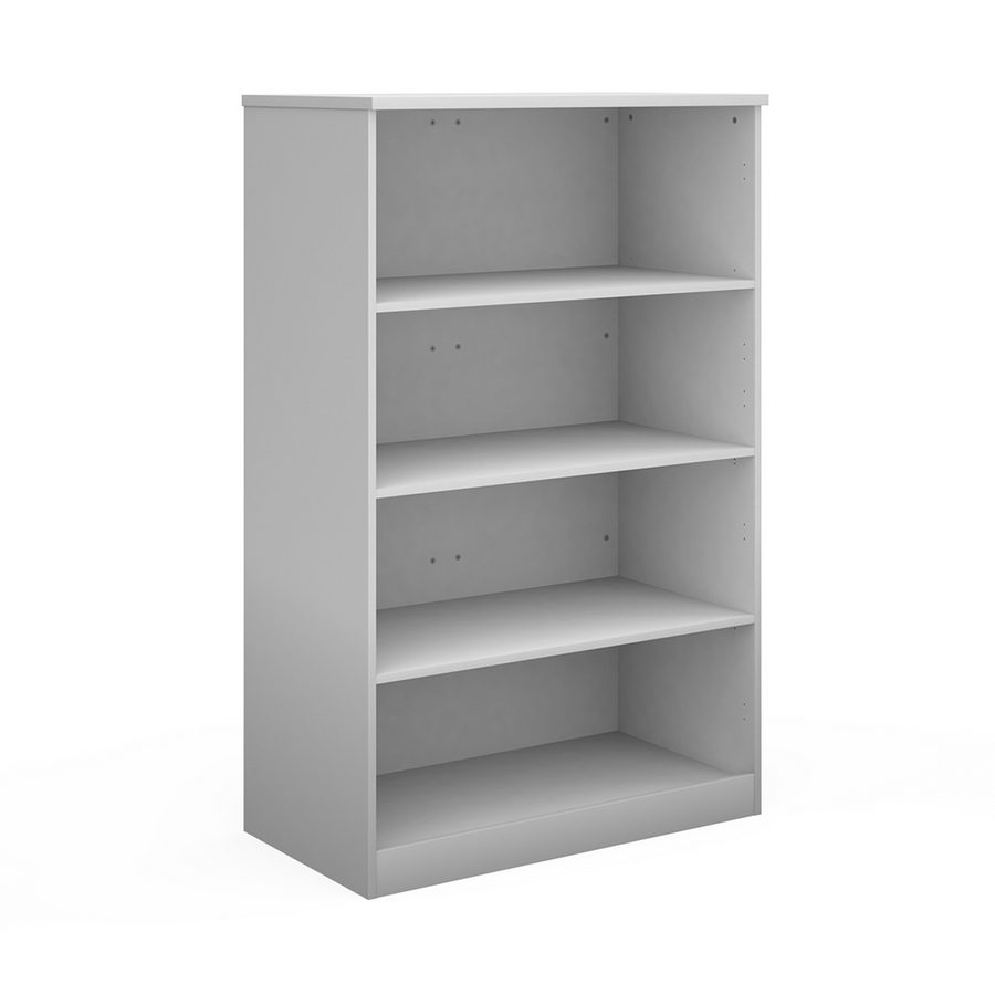 Picture of Deluxe bookcase 1600mm high with 3 shelves - white