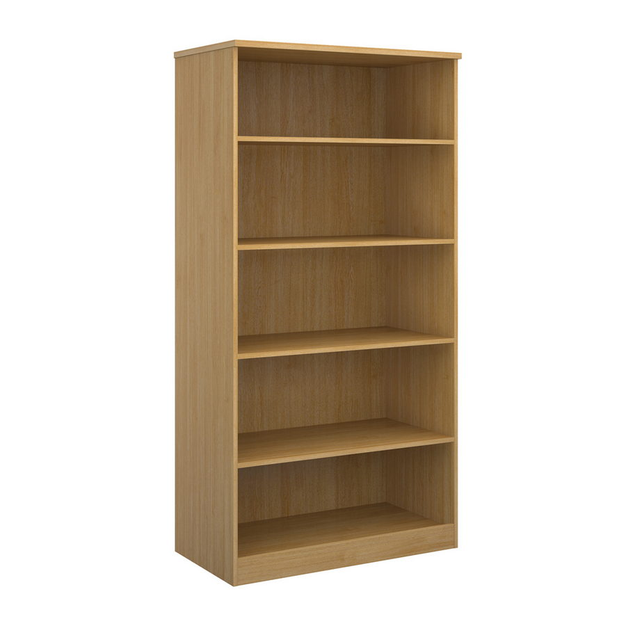 Picture of Deluxe bookcase 2000mm high with 4 shelves - oak