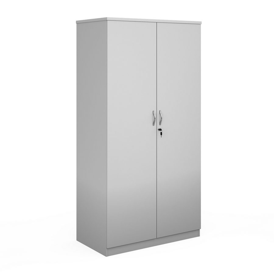 Picture of Deluxe double door cupboard 2000mm high with 4 shelves - white