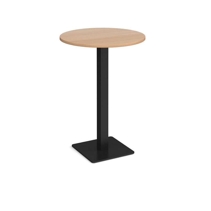 Picture of Brescia circular poseur table with flat square black base 800mm - beech