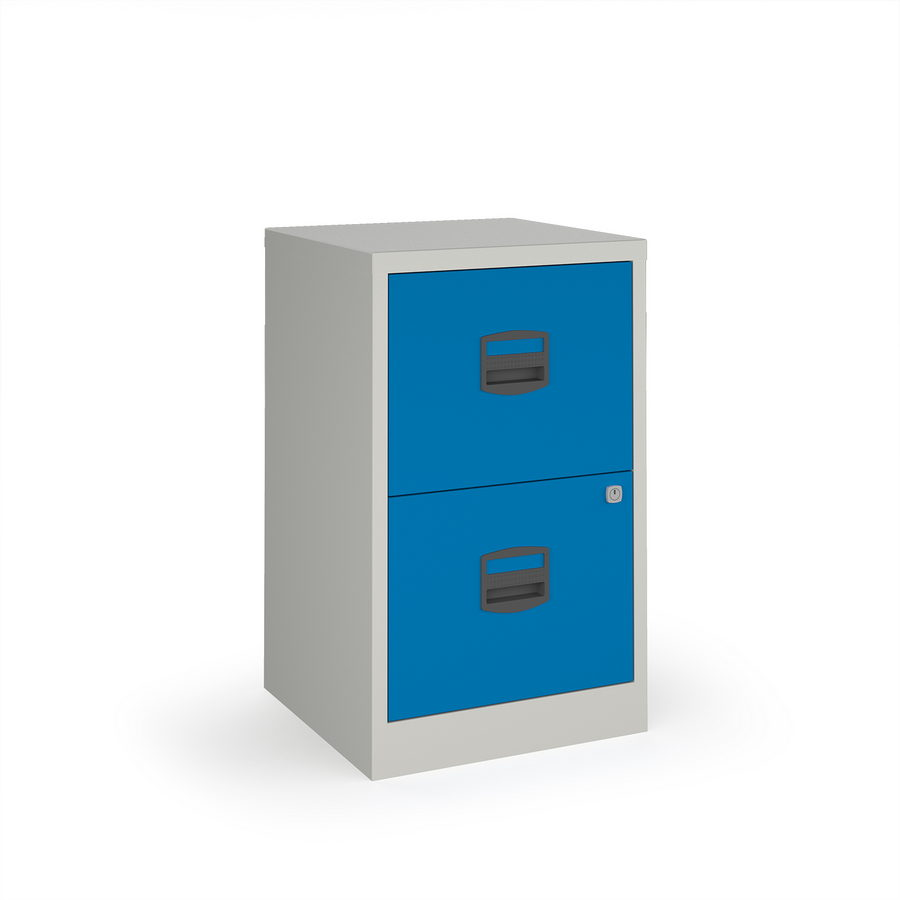 Picture of Bisley A4 home filer with 2 drawers - grey with blue drawers