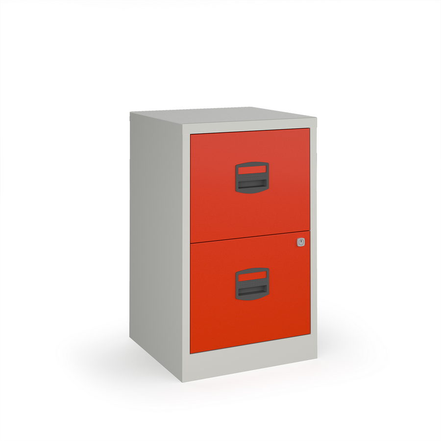 Picture of Bisley A4 home filer with 2 drawers - grey with red drawers