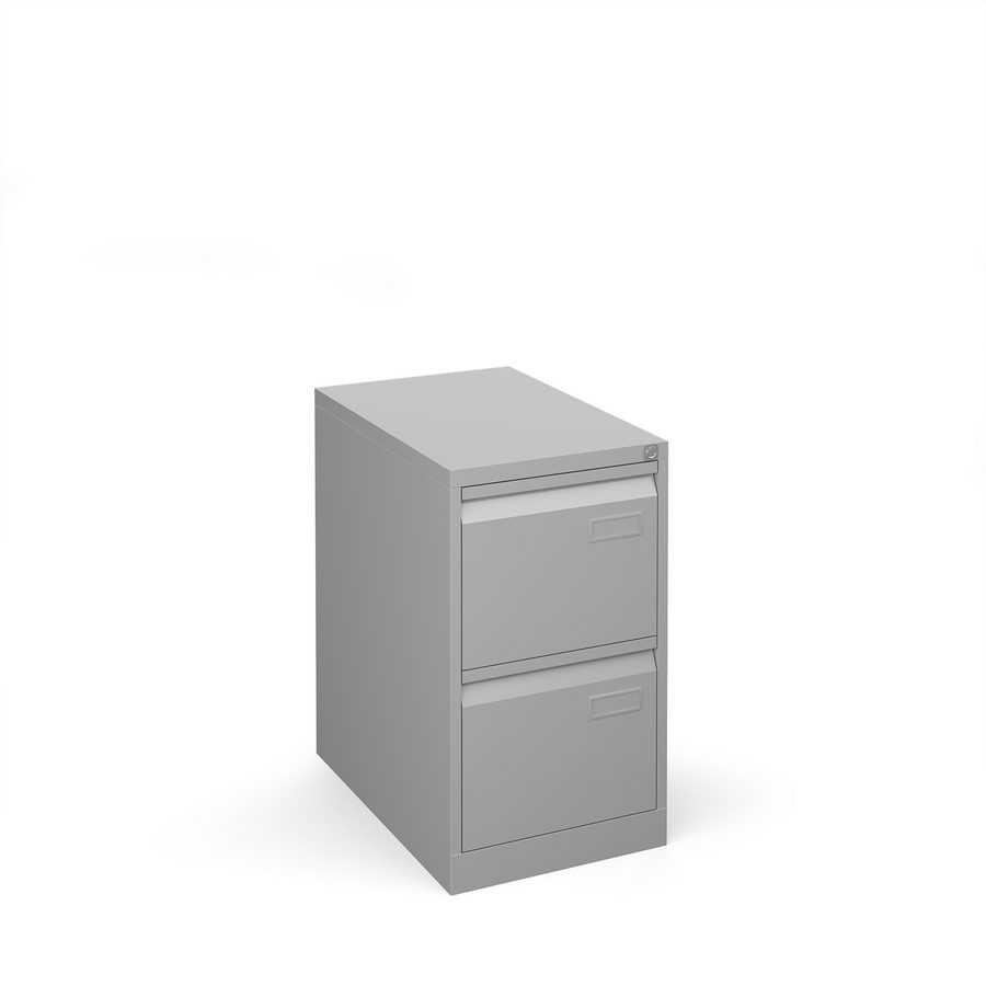 Picture of Bisley steel 2 drawer public sector contract filing cabinet 711mm high - silver