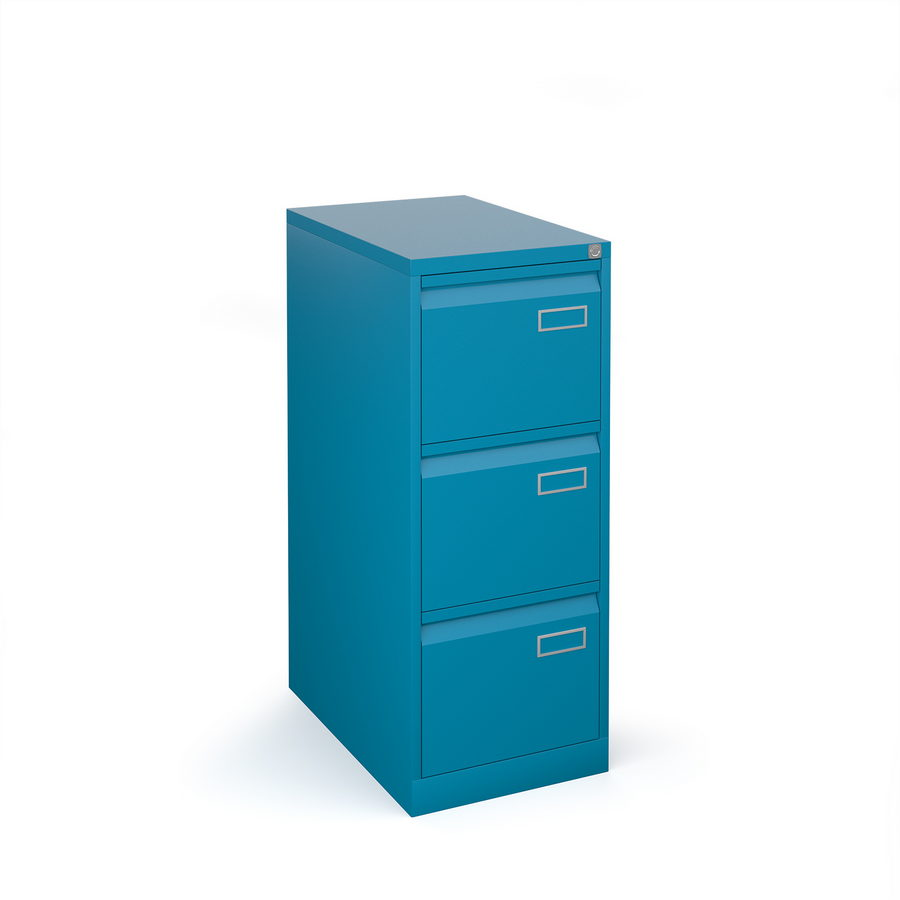 Picture of Bisley steel 3 drawer public sector contract filing cabinet 1016mm high - blue