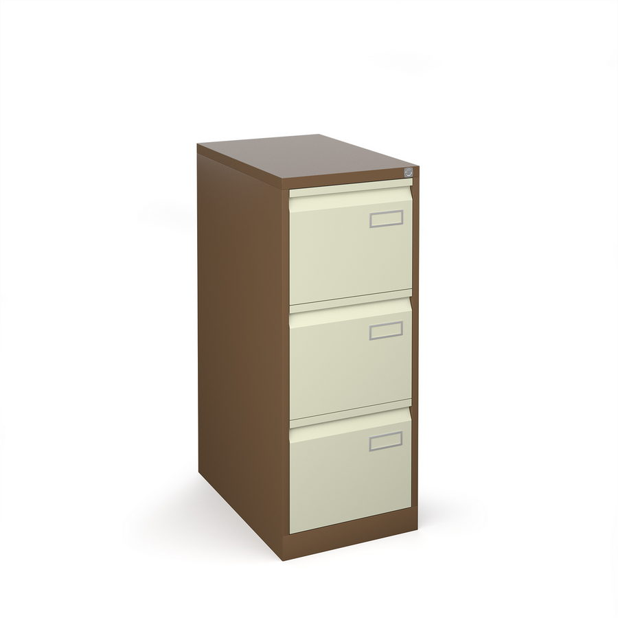 Picture of Bisley steel 3 drawer public sector contract filing cabinet 1016mm high - coffee/cream