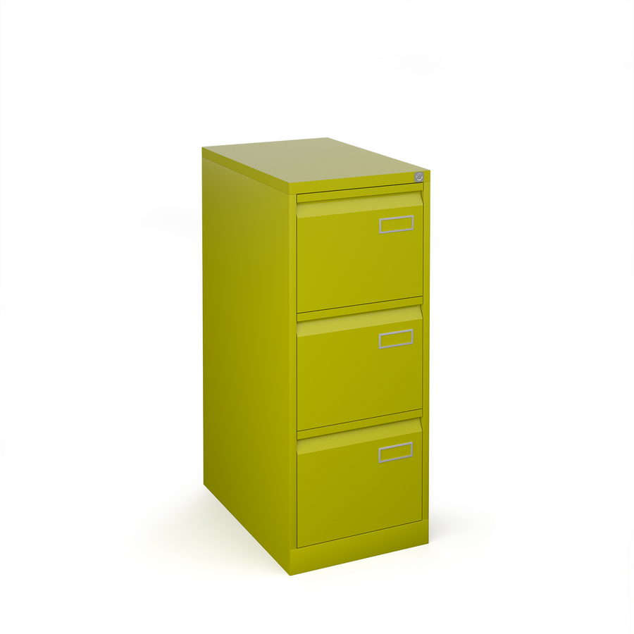 Picture of Bisley steel 3 drawer public sector contract filing cabinet 1016mm high - green
