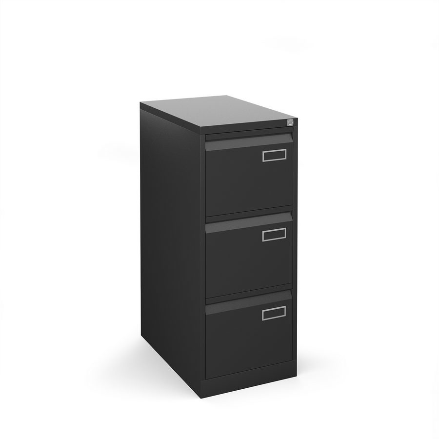 Picture of Bisley steel 3 drawer public sector contract filing cabinet 1016mm high - black