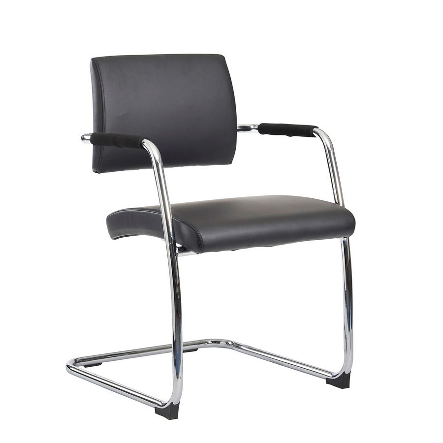 Picture of Bruges meeting room cantilever chair (pack of 2) - black faux leather