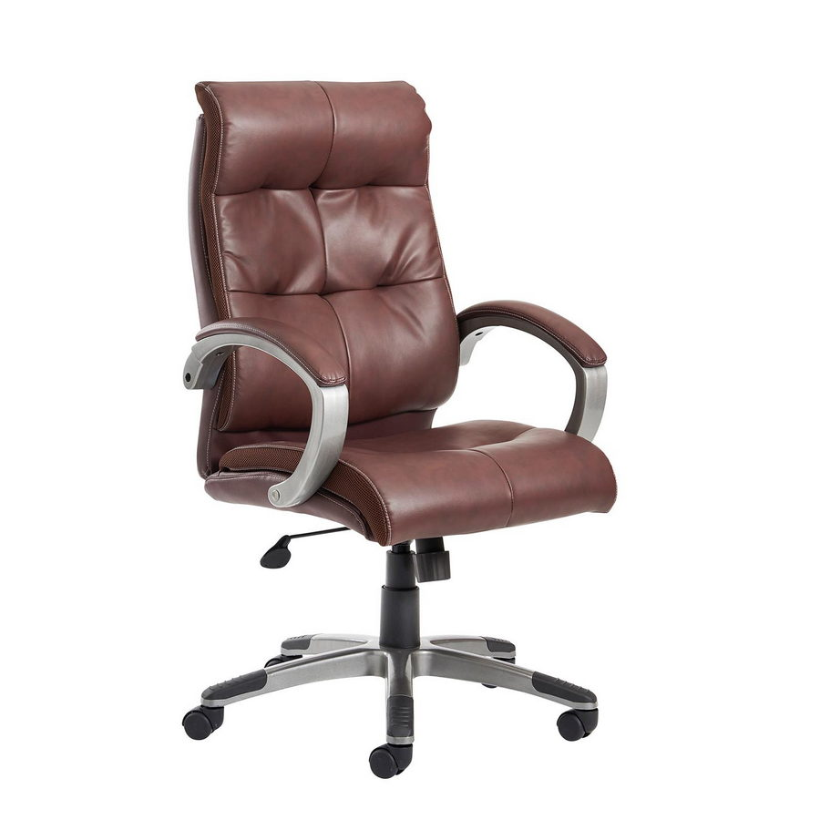 Picture of Catania high back managers chair - brown leather faced