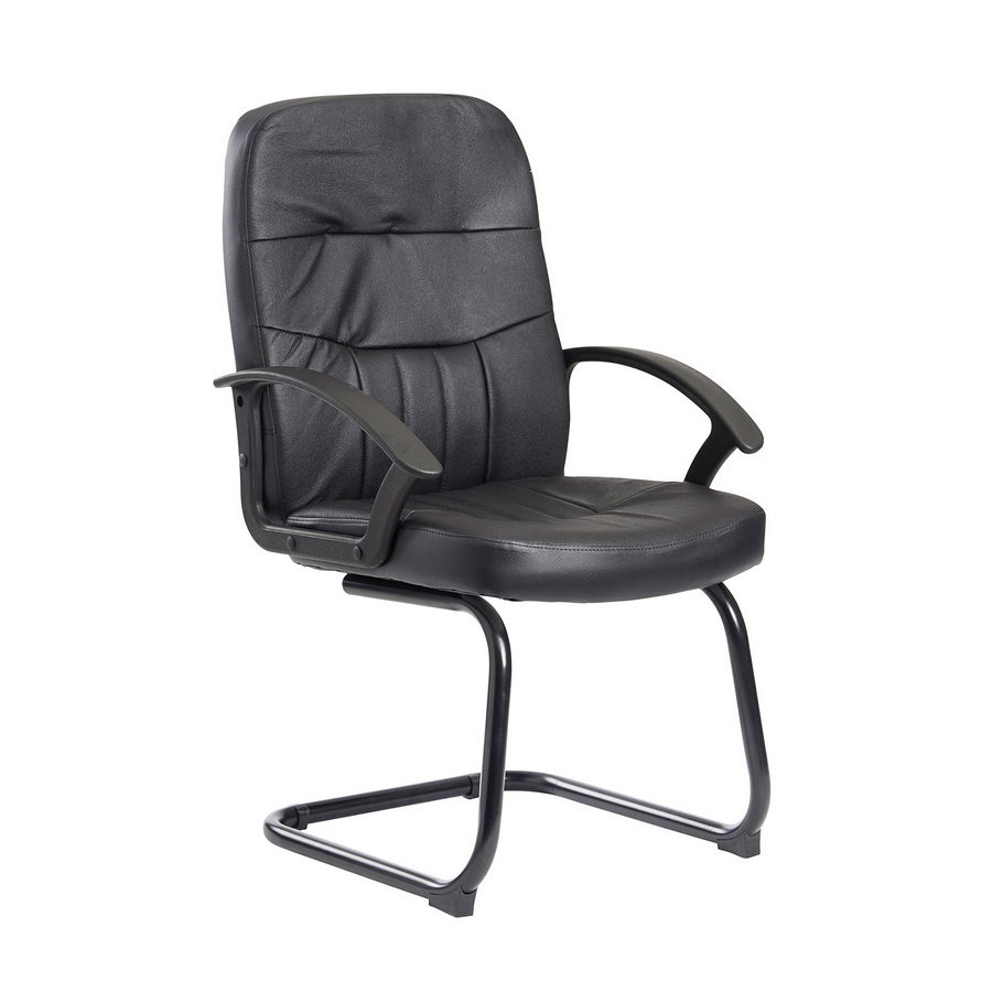 Picture of Cavalier executive visitors chair - black leather faced