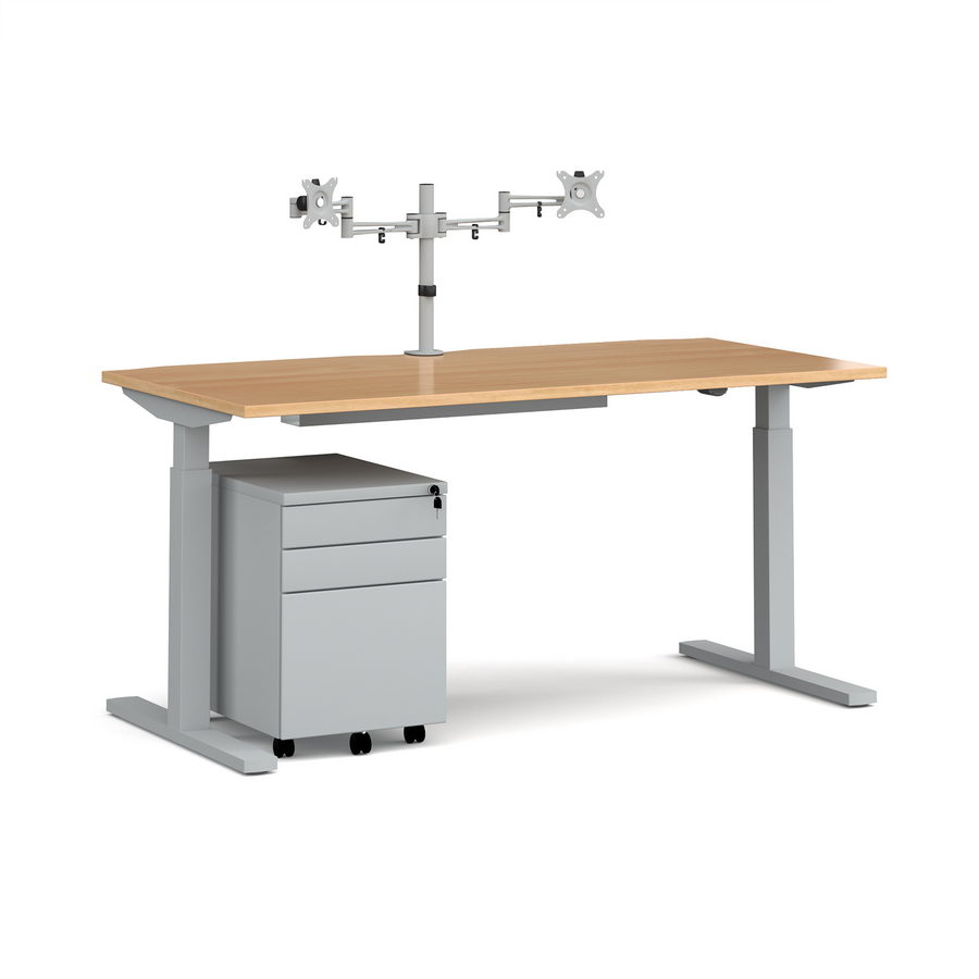 Picture of Elev8 Mono straight sit-stand desk 1600mm - silver frame, beech top with matching double monitor arm, steel pedestal and cable tray