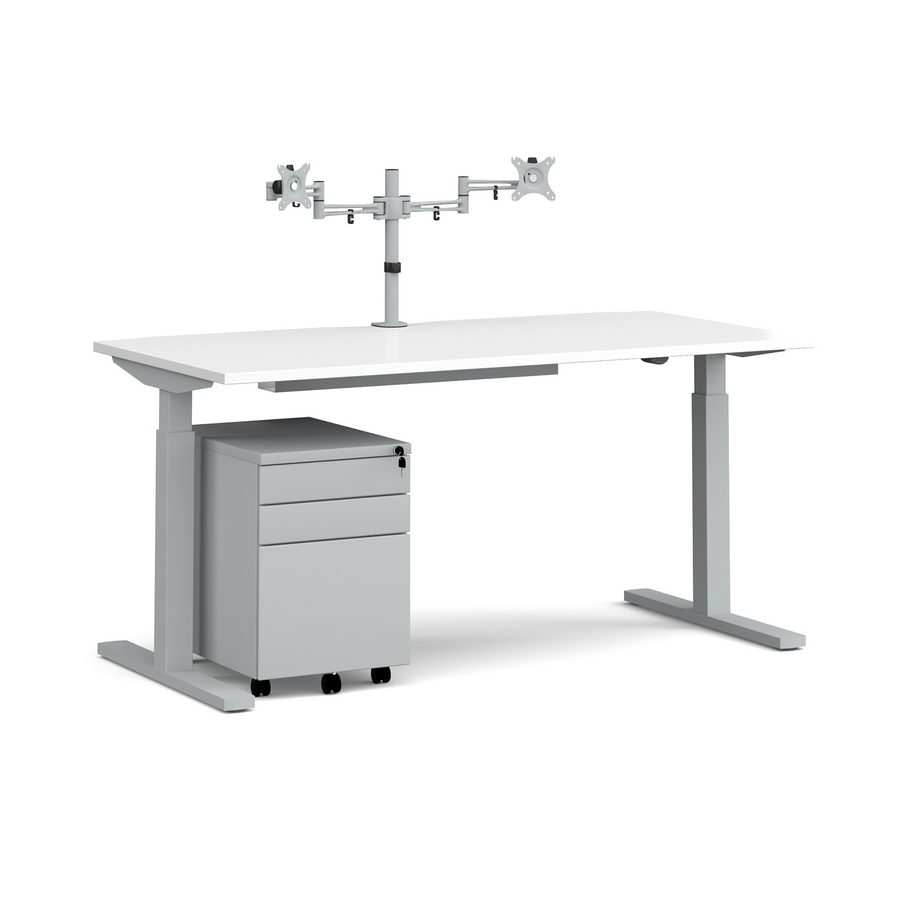 Picture of Elev8 Mono straight sit-stand desk 1600mm - silver frame, white top with matching double monitor arm, steel pedestal and cable tray