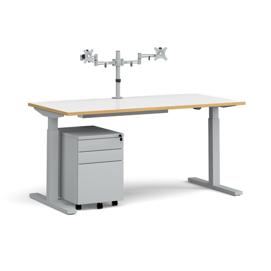 Picture of Elev8 Mono straight sit-stand desk 1600mm - silver frame, white top with oak edge with matching double monitor arm, steel pedestal and cable tray