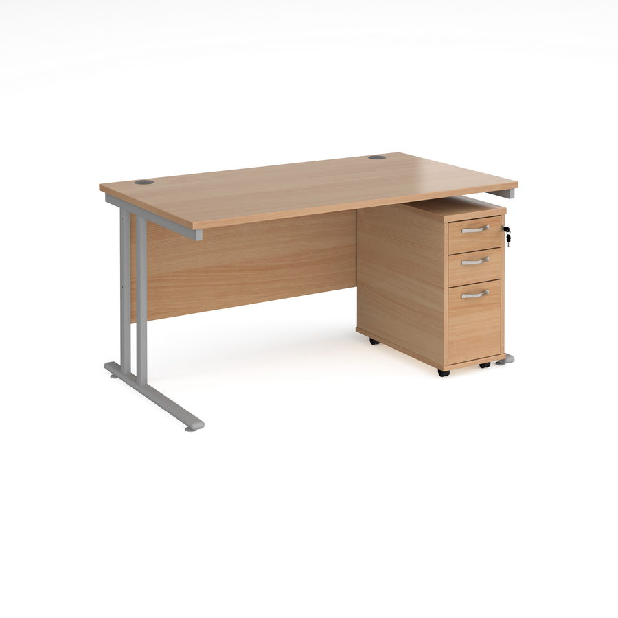 Picture of Maestro 25 straight desk 1400mm x 800mm with silver cantilever leg frame and tall slimline 3 drawer mobile pedestal - beech
