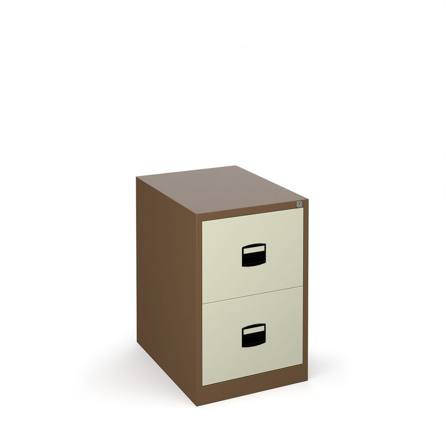 Picture of Steel 2 drawer contract filing cabinet 711mm high - coffee/cream