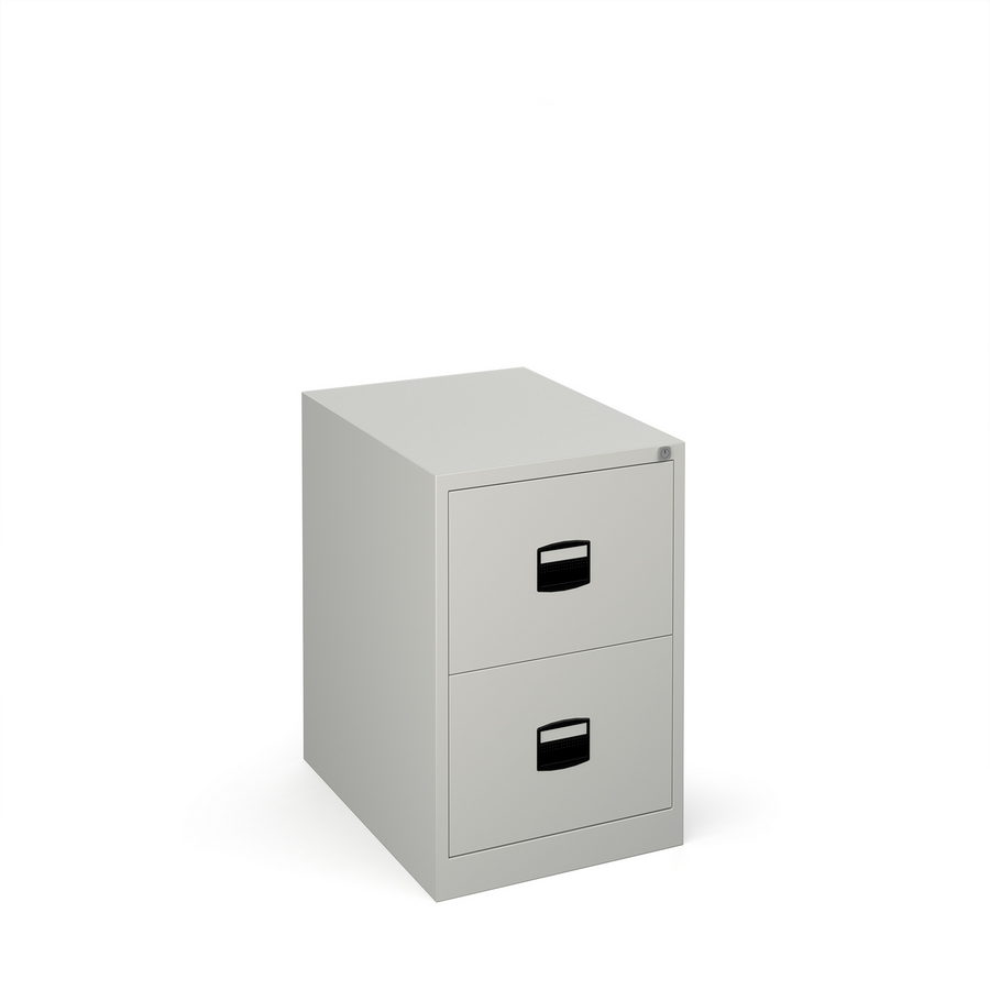 Picture of Steel 2 drawer contract filing cabinet 711mm high - goose grey