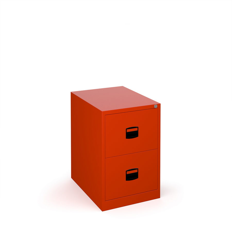Picture of Steel 2 drawer contract filing cabinet 711mm high - red