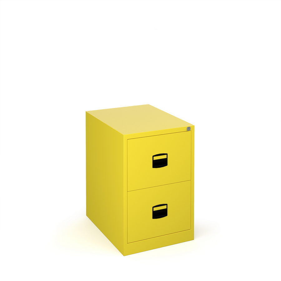 Picture of Steel 2 drawer contract filing cabinet 711mm high - yellow