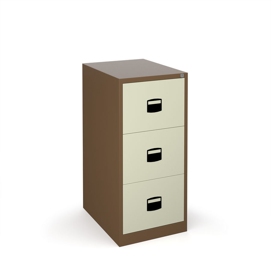 Picture of Steel 3 drawer contract filing cabinet 1016mm high - coffee/cream