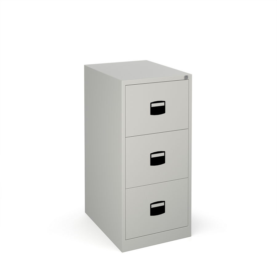 Picture of Steel 3 drawer contract filing cabinet 1016mm high - goose grey