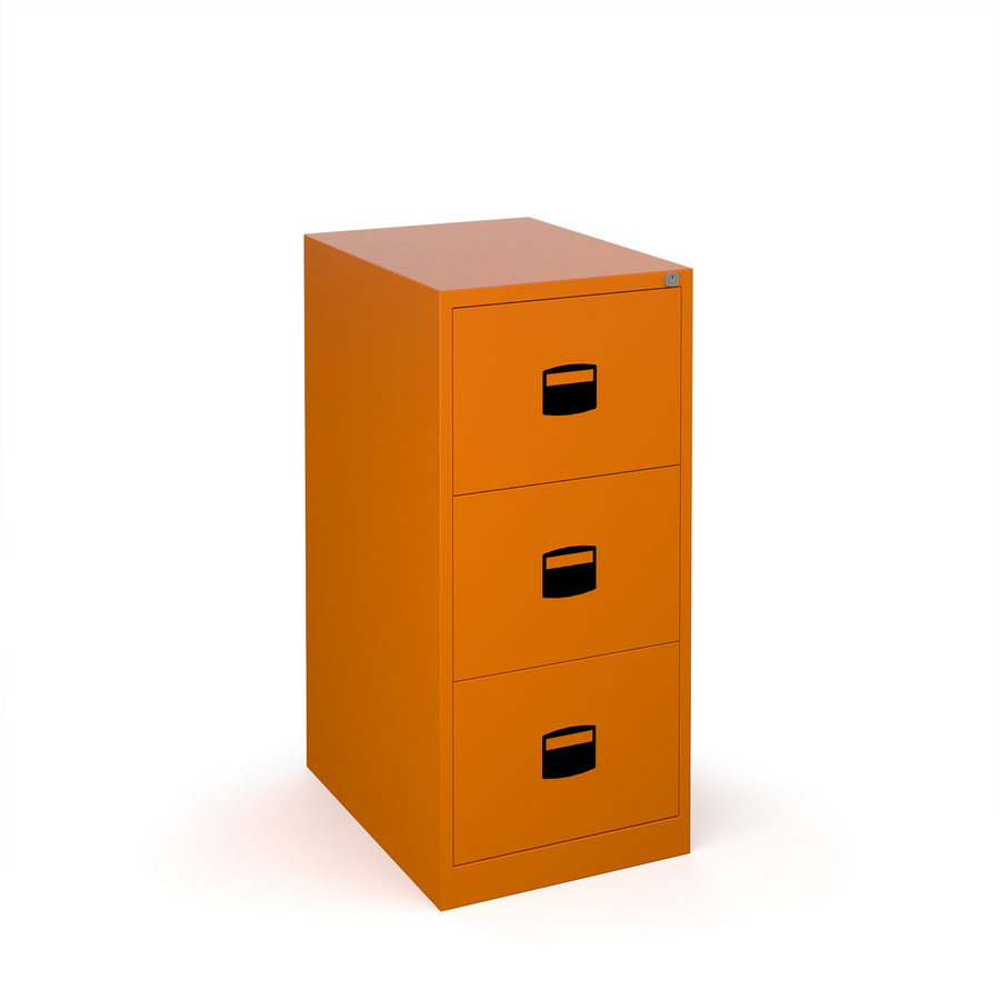 Picture of Steel 3 drawer contract filing cabinet 1016mm high - orange