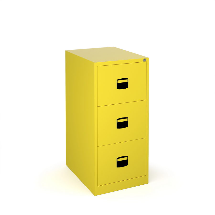 Picture of Steel 3 drawer contract filing cabinet 1016mm high - yellow