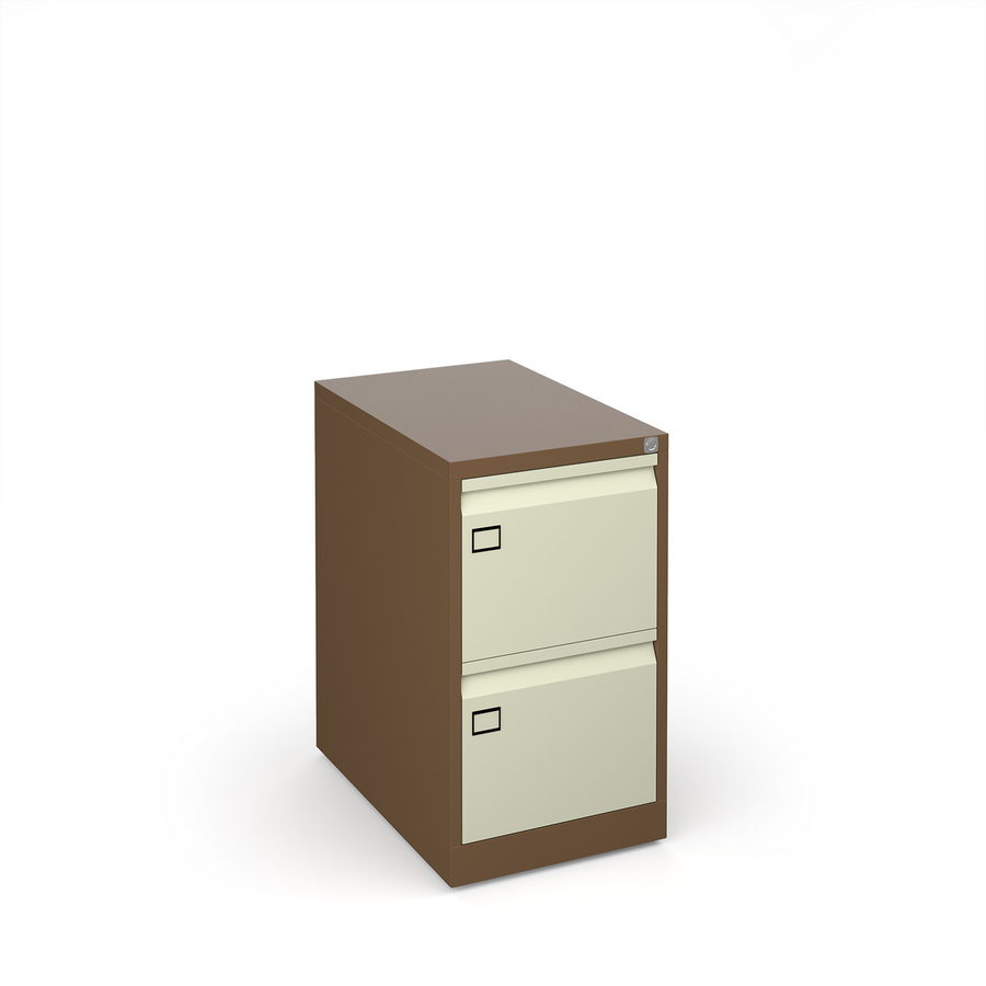 Picture of Steel 2 drawer executive filing cabinet 711mm high - coffee/cream