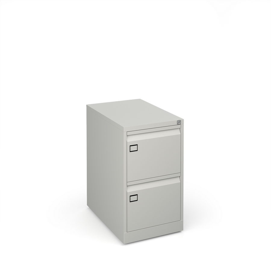 Picture of Steel 2 drawer executive filing cabinet 711mm high - goose grey
