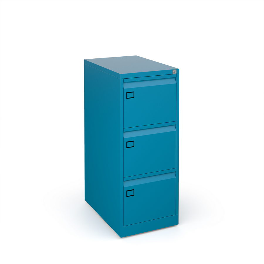 Picture of Steel 3 drawer executive filing cabinet 1016mm high - blue