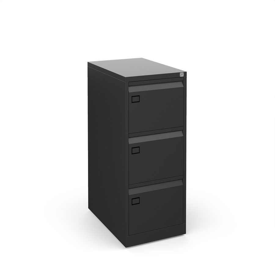 Picture of Steel 3 drawer executive filing cabinet 1016mm high - black