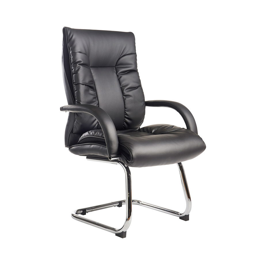 Picture of Derby high back visitors chair - black faux leather