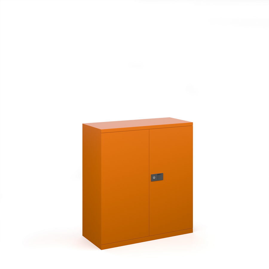 Picture of Steel contract cupboard with 1 shelf 1000mm high - orange