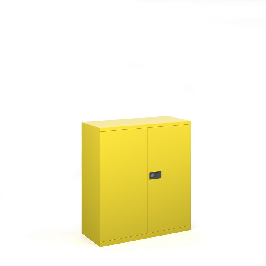 Picture of Steel contract cupboard with 1 shelf 1000mm high - yellow