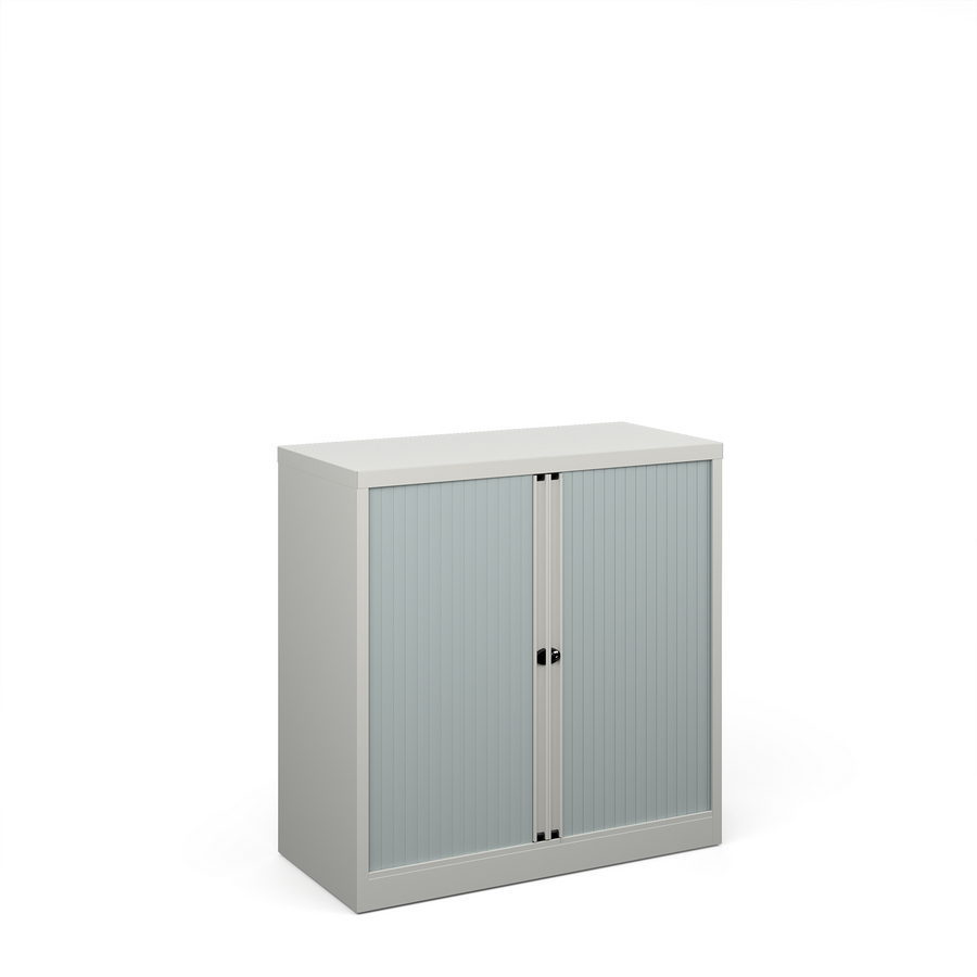 Picture of Bisley systems storage low tambour cupboard 1000mm high - goose grey