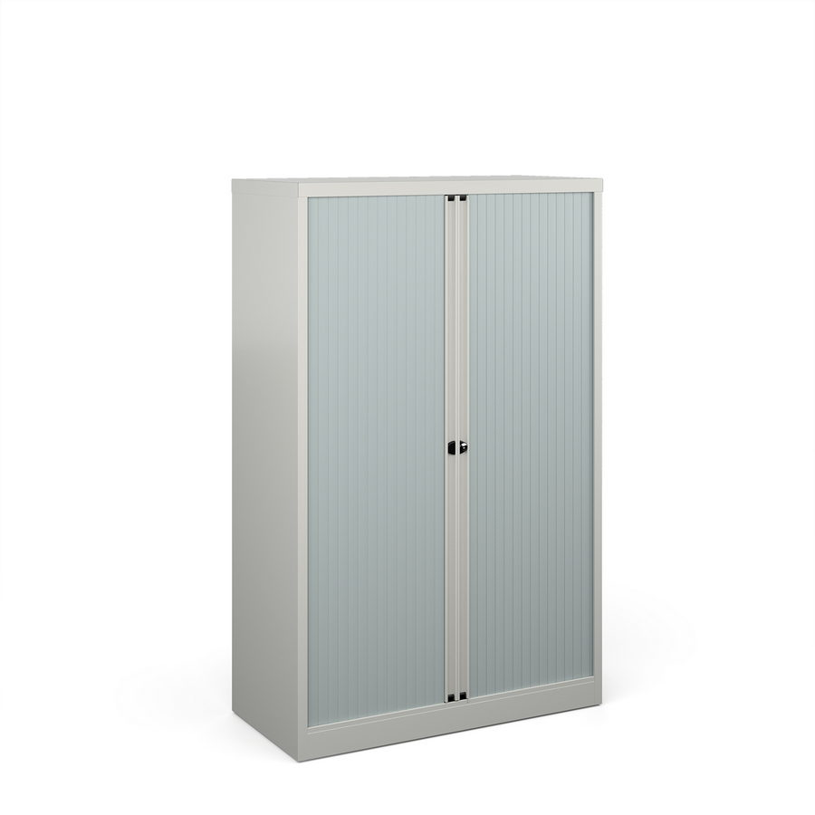 Picture of Bisley systems storage medium tambour cupboard 1570mm high - goose grey