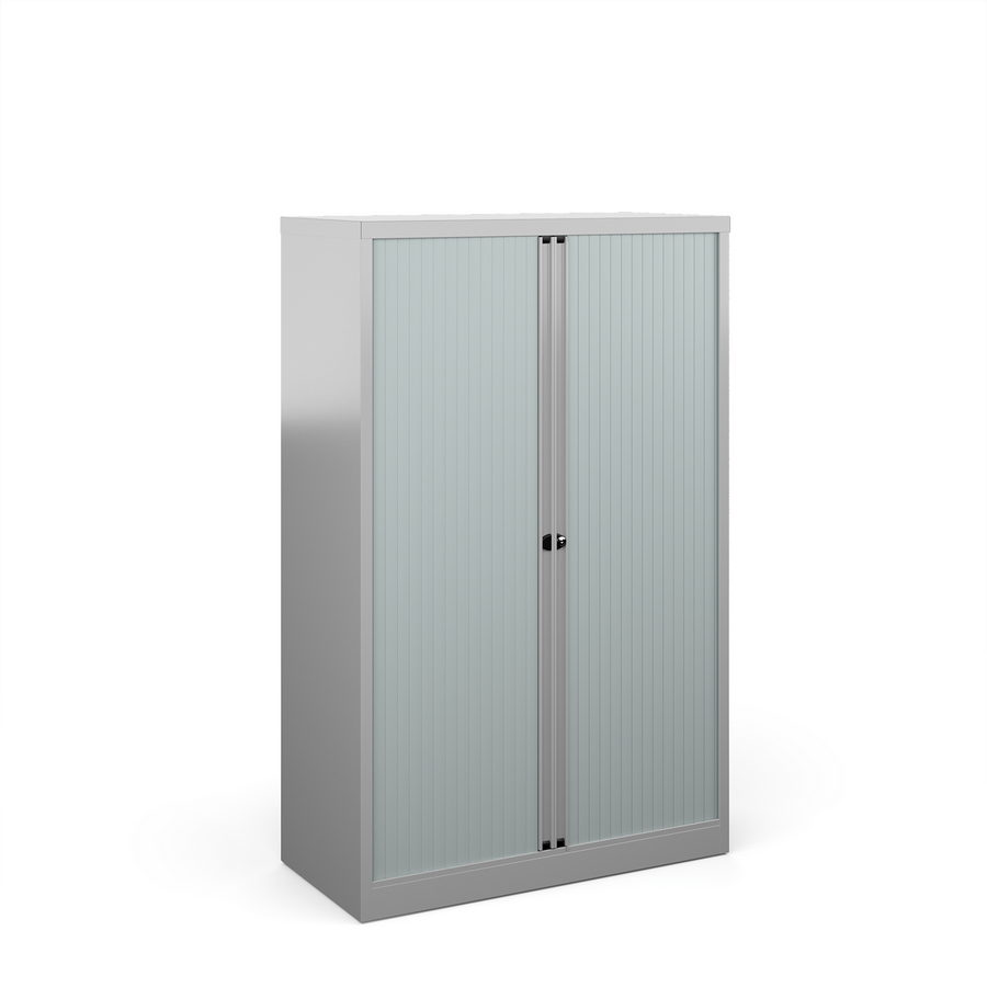 Picture of Bisley systems storage medium tambour cupboard 1570mm high - silver