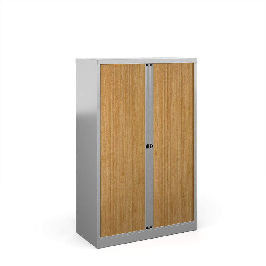 Picture of Bisley systems storage medium tambour cupboard 1570mm high - silver with beech doors