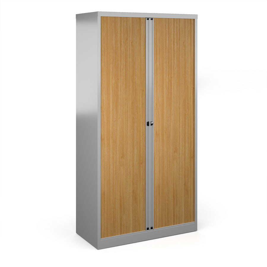Picture of Bisley systems storage high tambour cupboard 1970mm high - silver with beech doors