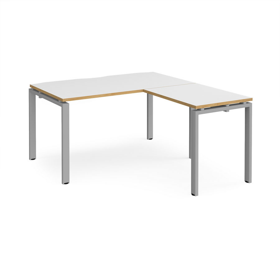 Picture of Adapt desk 1400mm x 800mm with 800mm return desk - silver frame, white top with oak edge