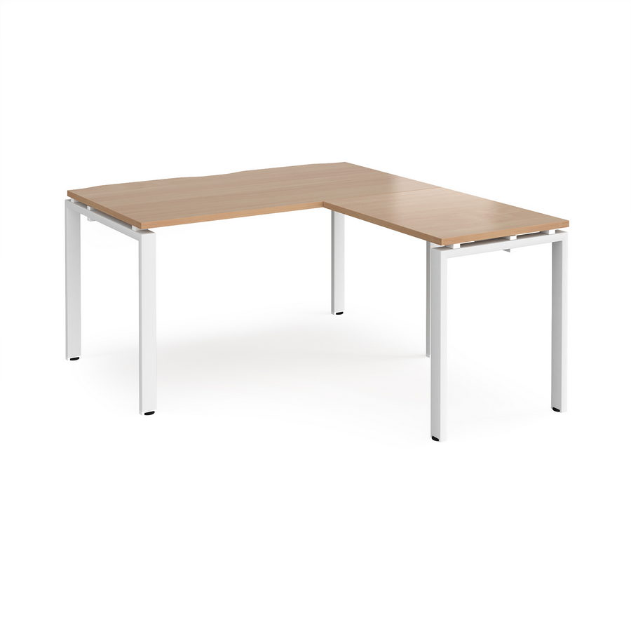 Picture of Adapt desk 1400mm x 800mm with 800mm return desk - white frame, beech top